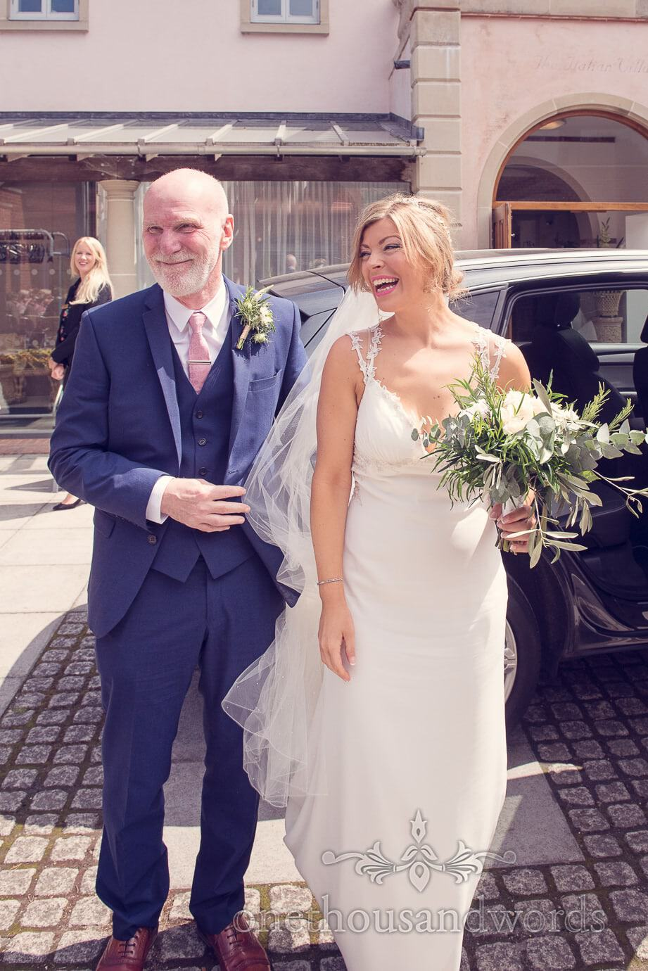 Bride and father arrive at Italian Villa Wedding Photographs