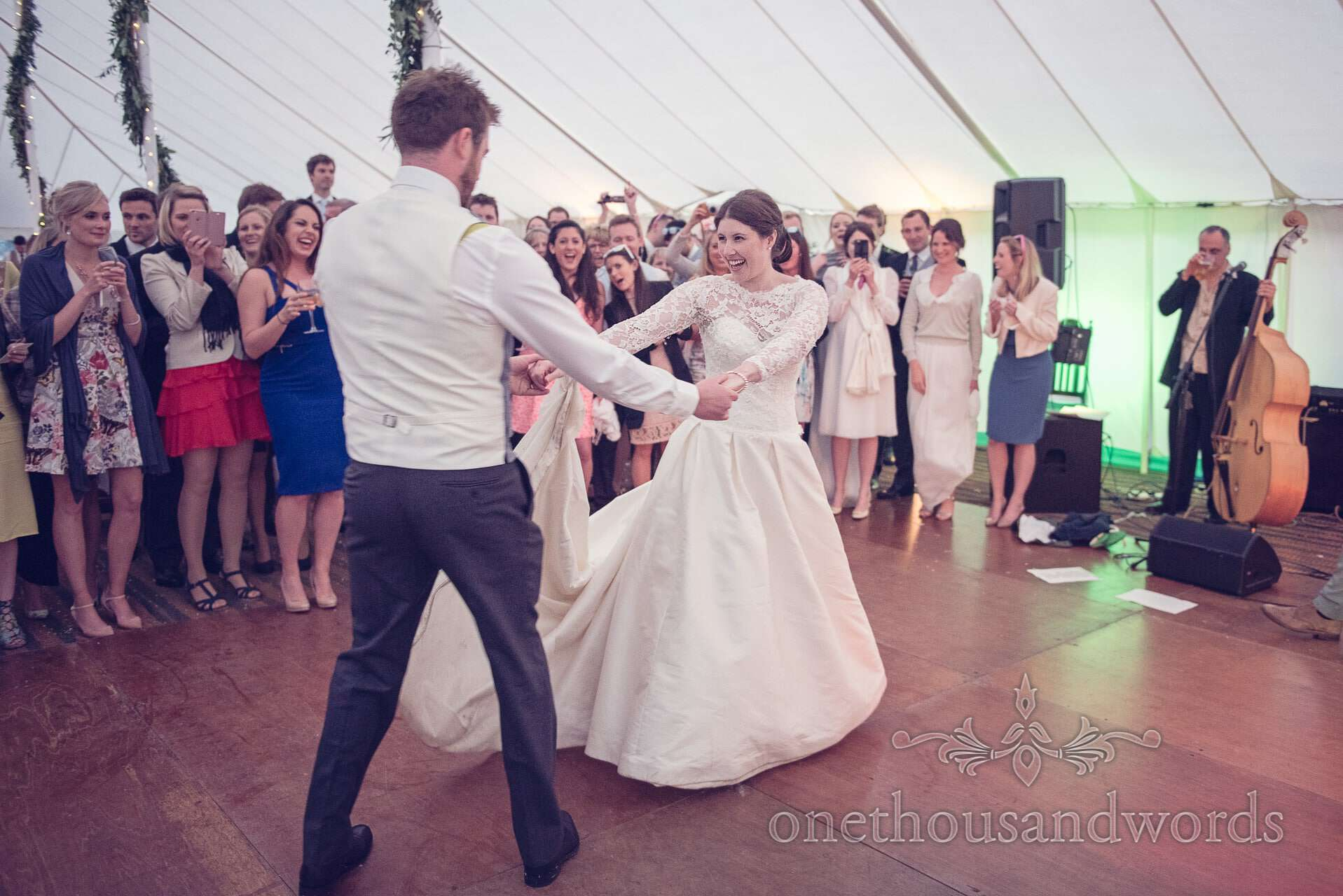 Bride and groom first dance at The Priory Wareham wedding