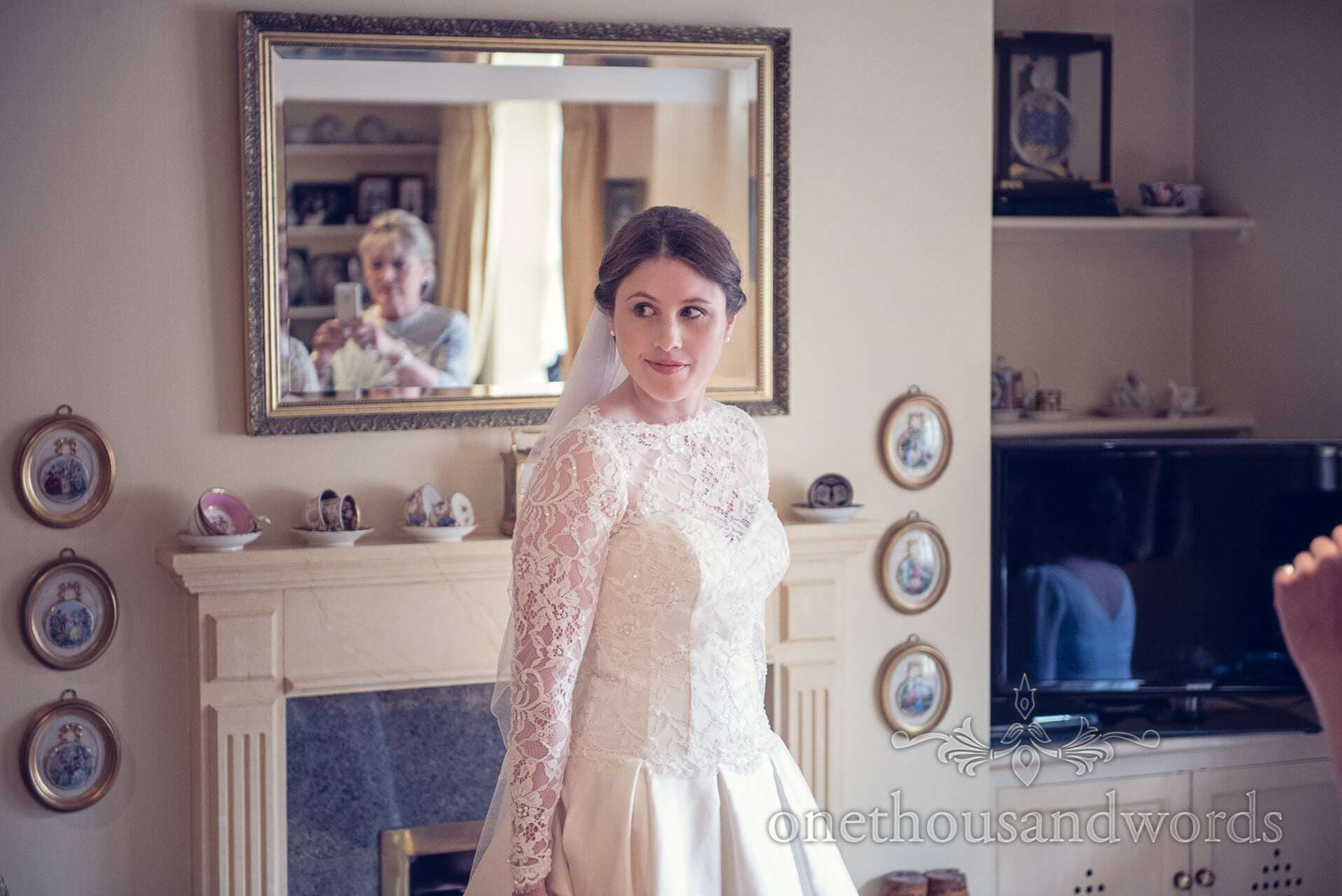 Bride at home on The Priory Wareham wedding morning
