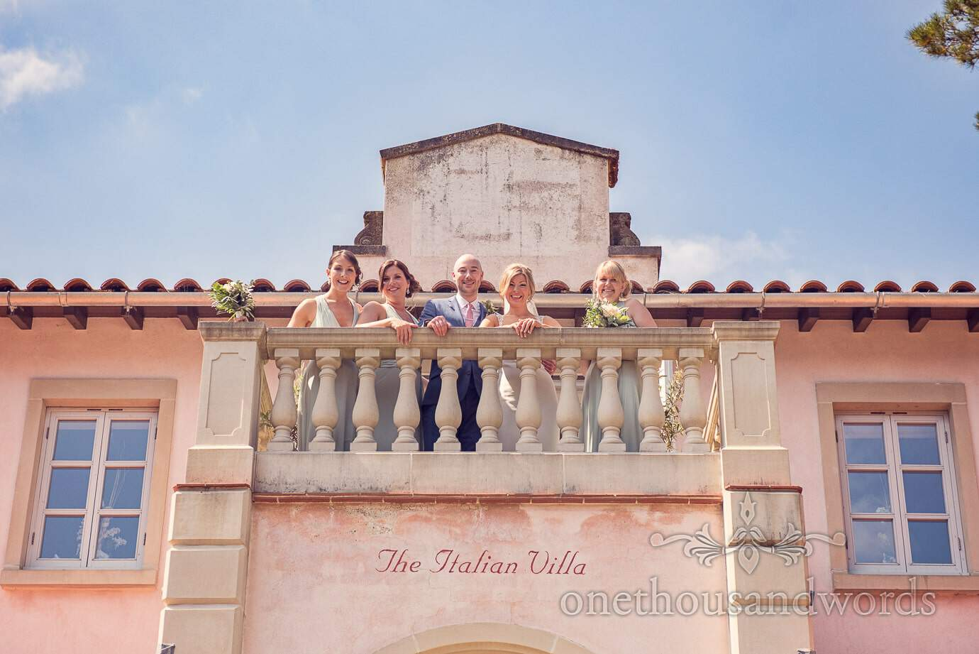 Bride, groom and bridesmaids at Italian Villa Wedding Photographs