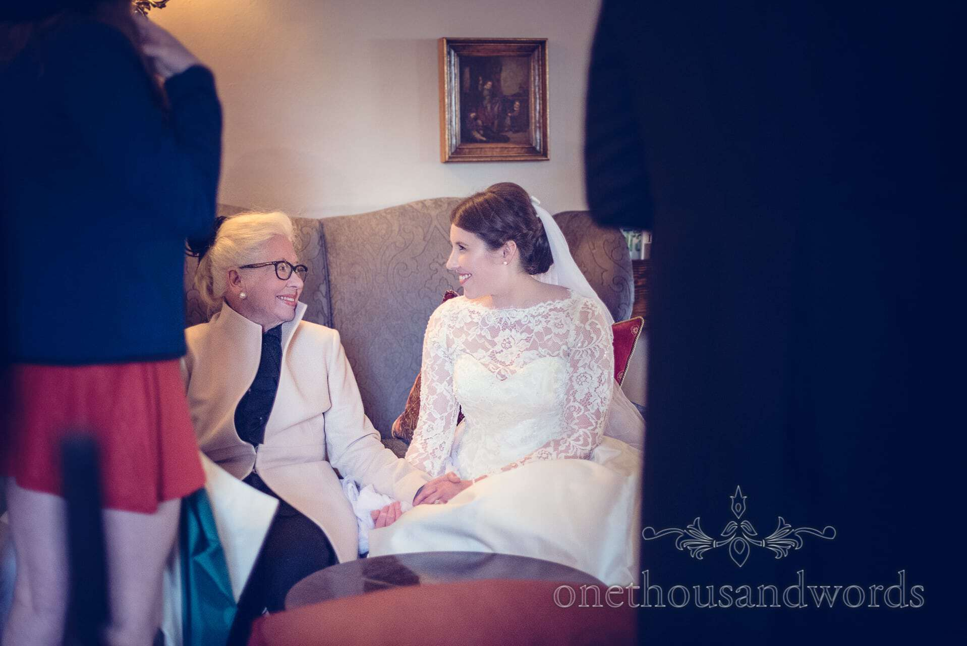 Bride has a moment of peace with her grandmother at The Priory Wareham wedding
