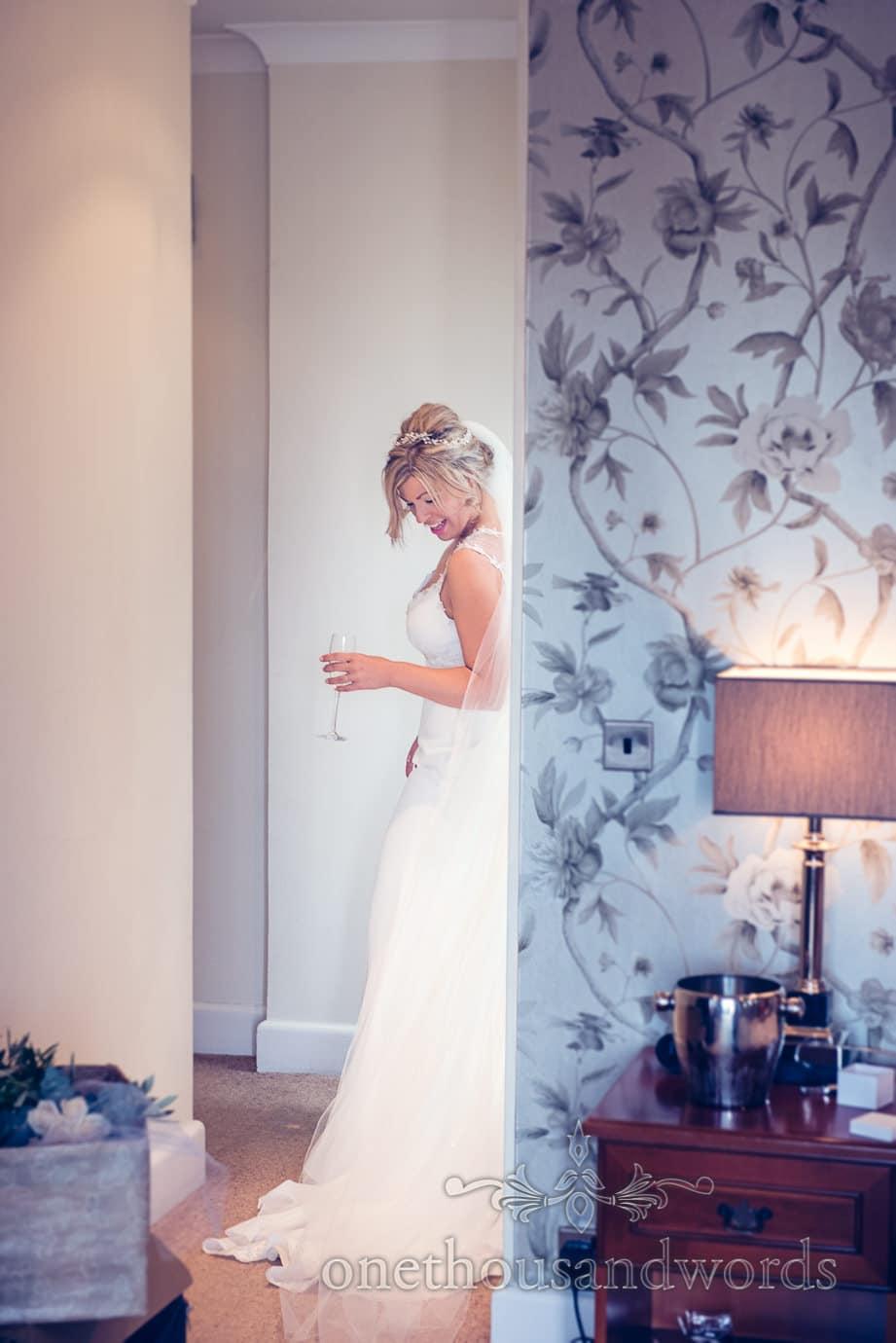Bride in dress on morning of Italian Villa Wedding Photographs
