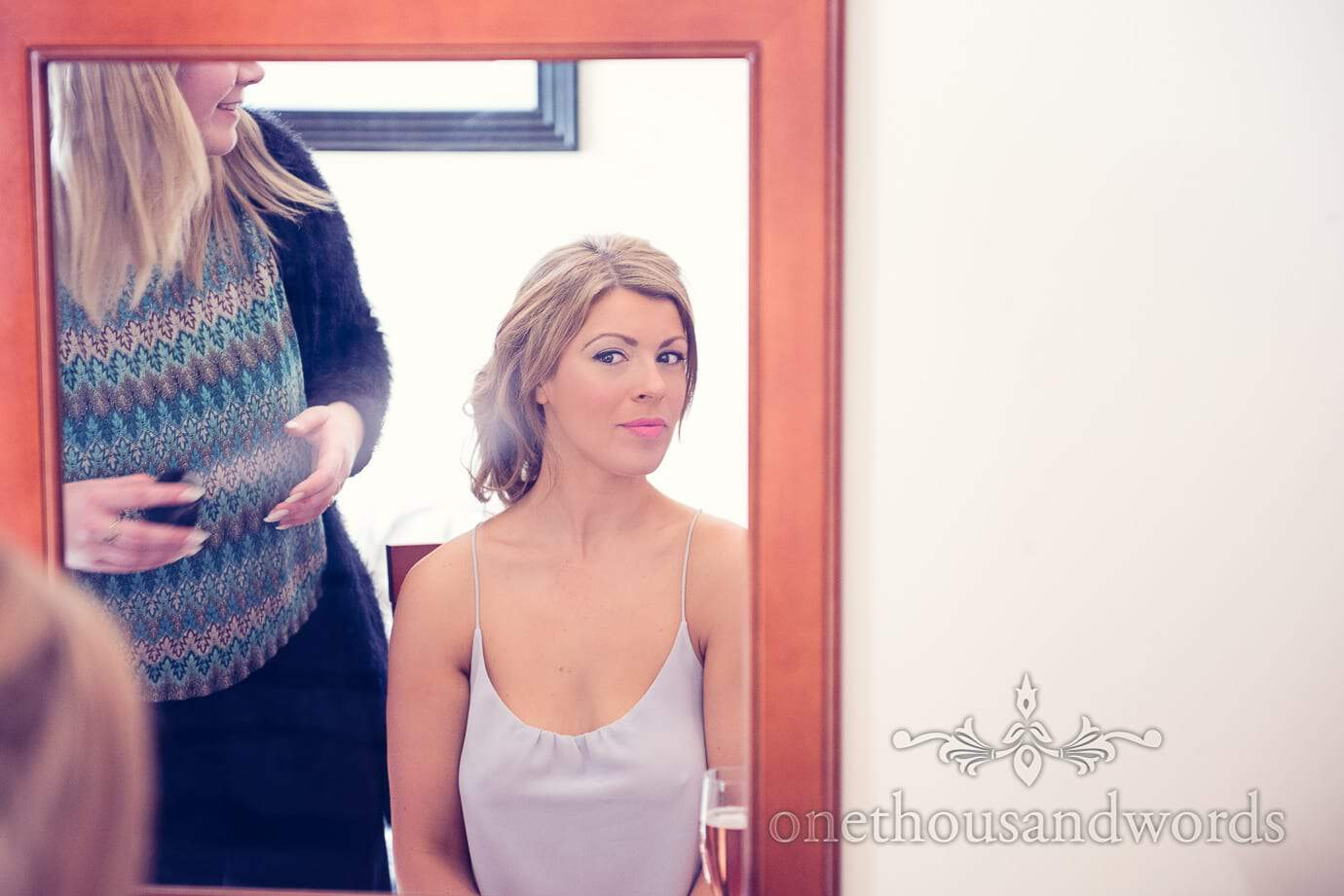 Bride in mirror at Italian Villa Wedding Photographs