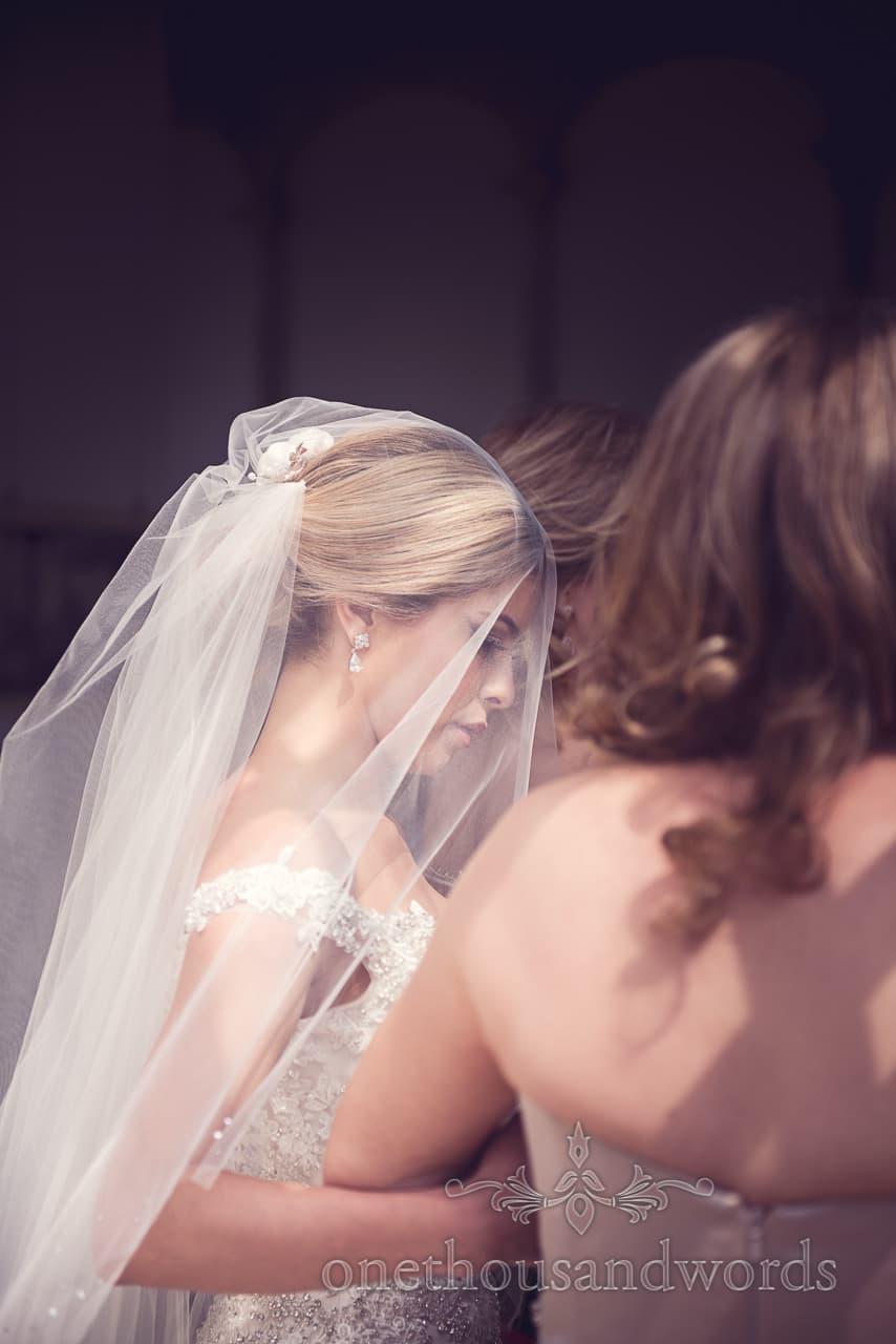 Bride in veil at Highcliffe Castle wedding