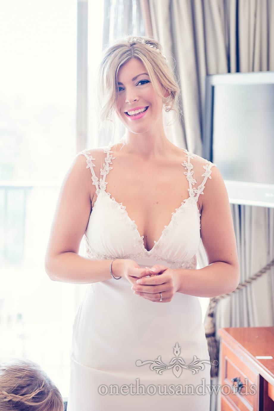 Bride on morning of Italian Villa Wedding Photographs