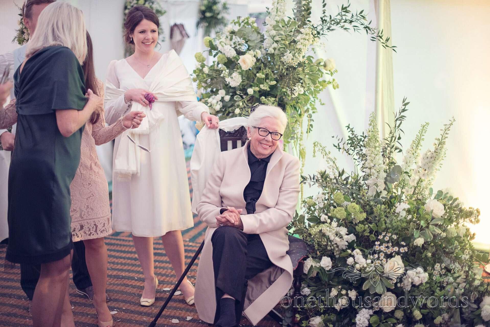 Brides grandparent watches first dance at The Priory Wareham wedding