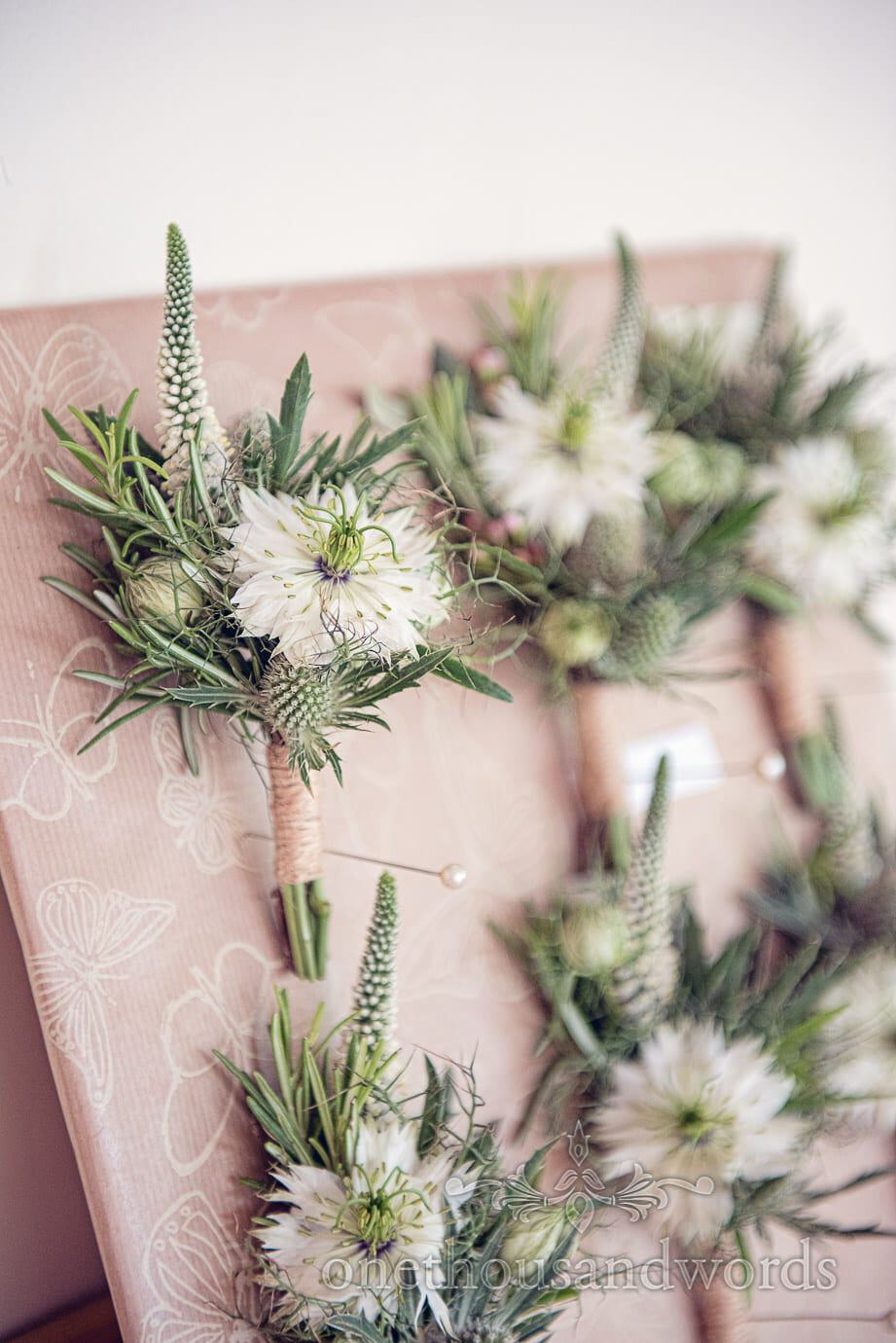 Buttonhole details at Italian Villa wedding