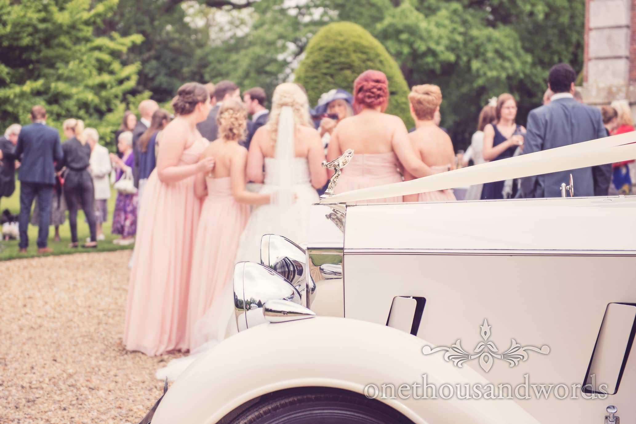 Classic Rolls Royce Wedding Car detail at Deans Court wedding reception