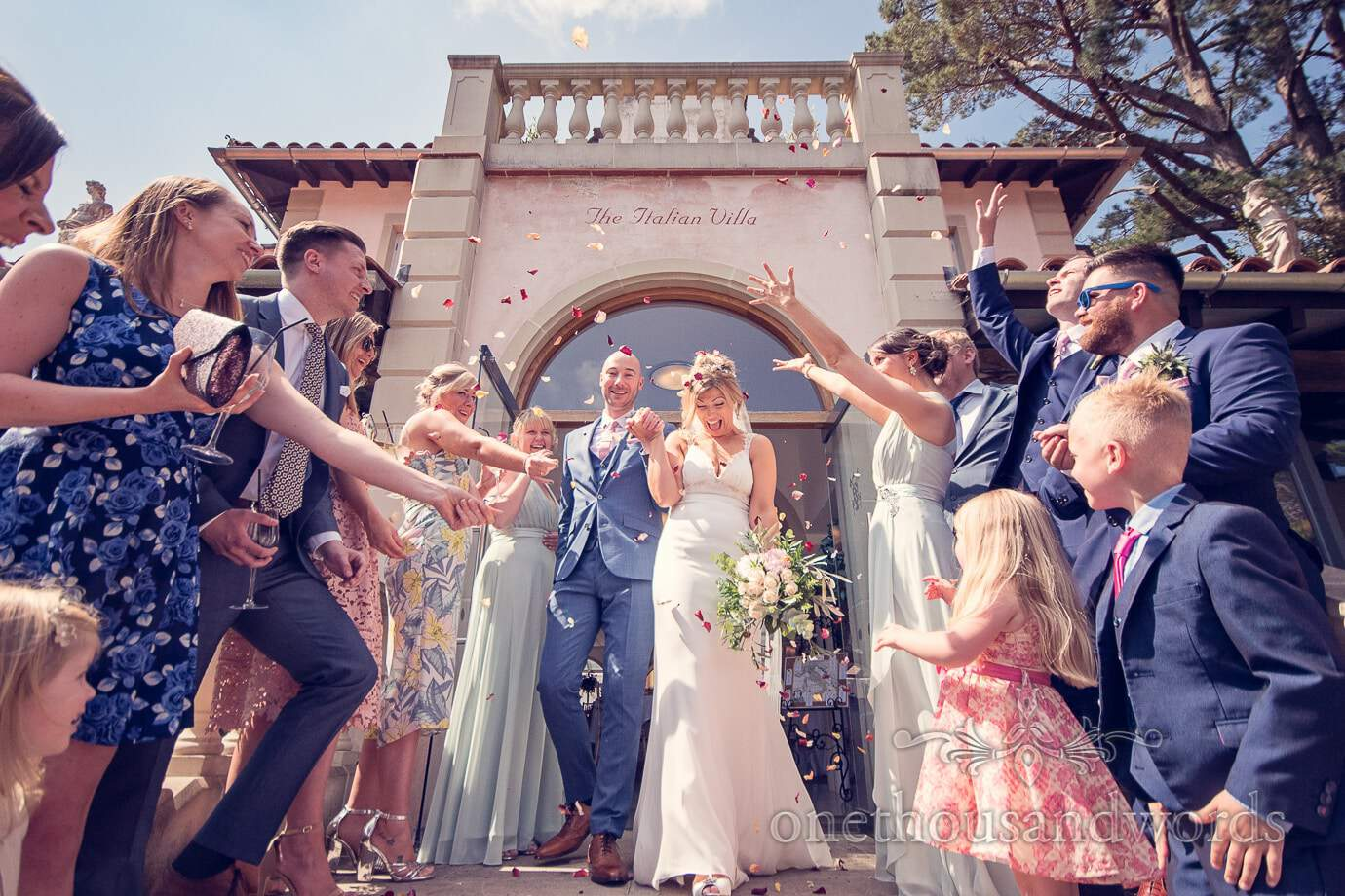 Confetti at Italian Villa Wedding Photographs