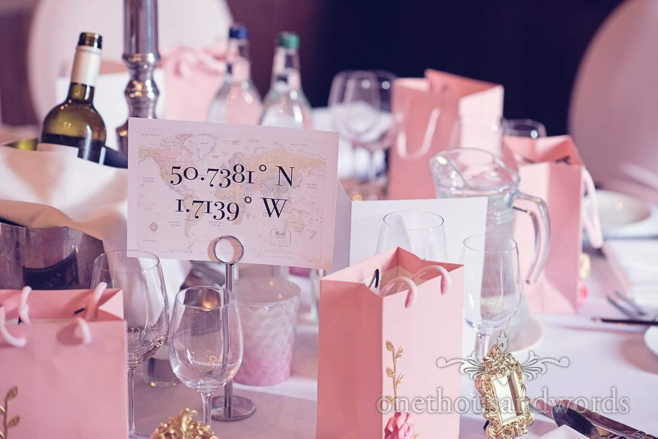 Coordinates table name at Rhinefield House Wedding