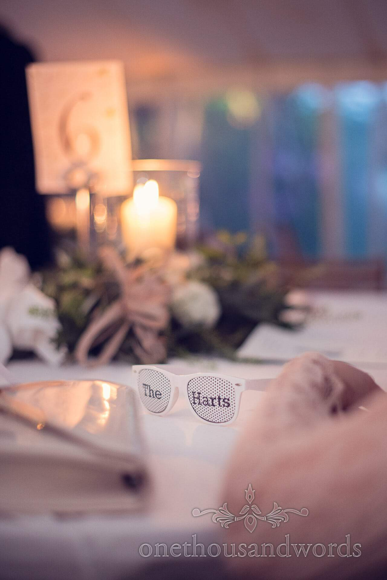 Custom wedding sunglasses with couples name