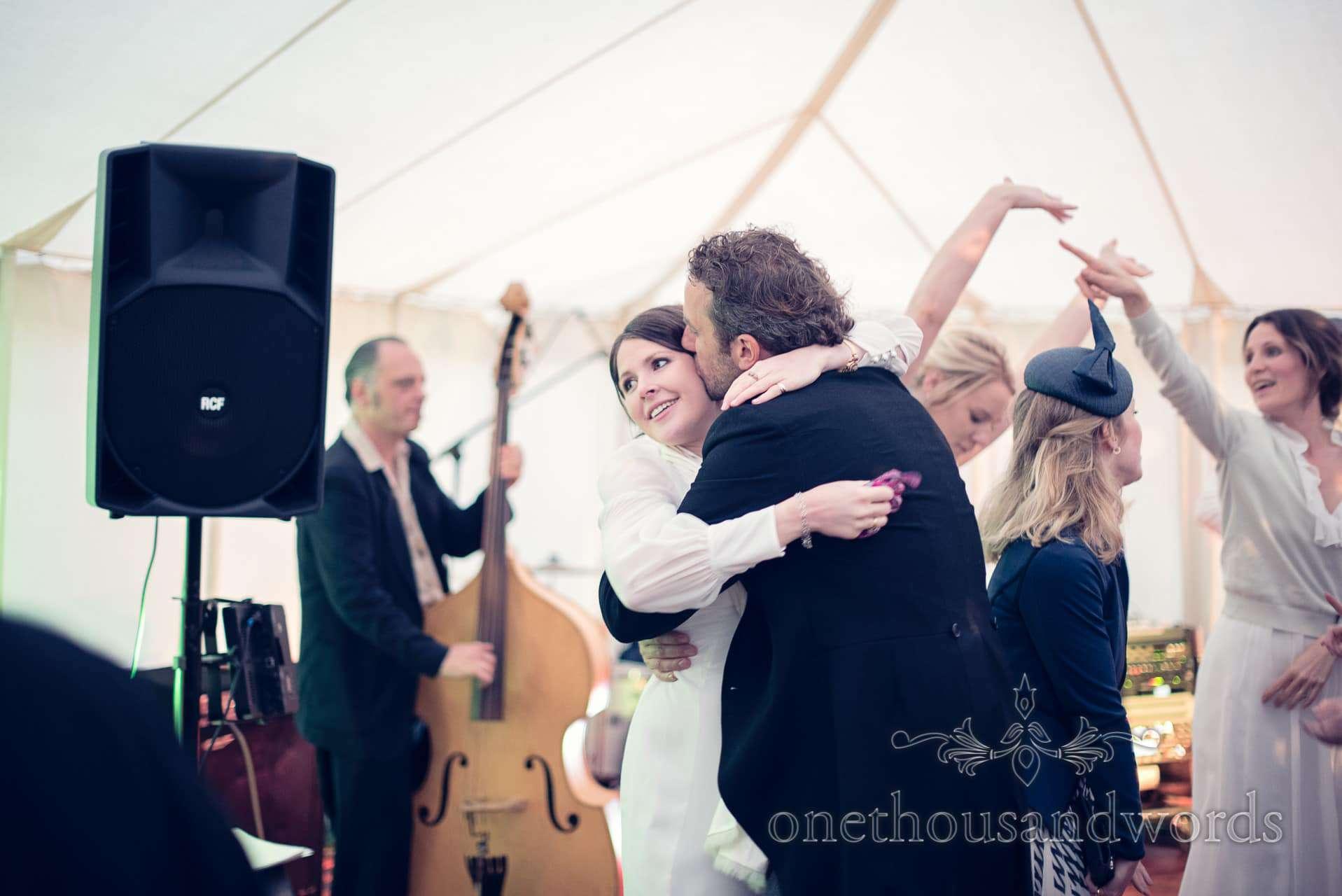 Dancing bridesmaid at The Priory Wareham wedding