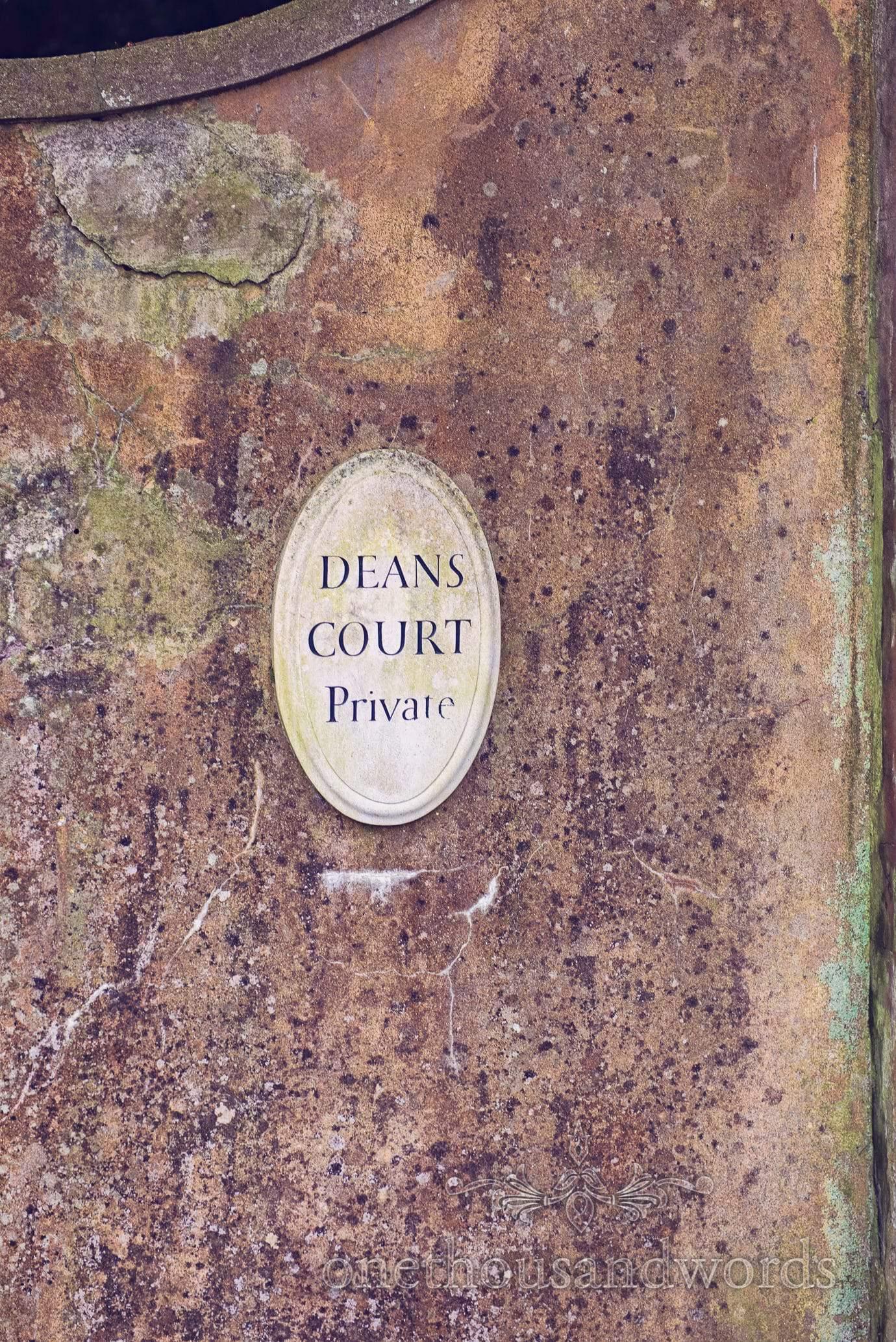 Deans Court Wedding Venue sign in Wimborne, Dorset