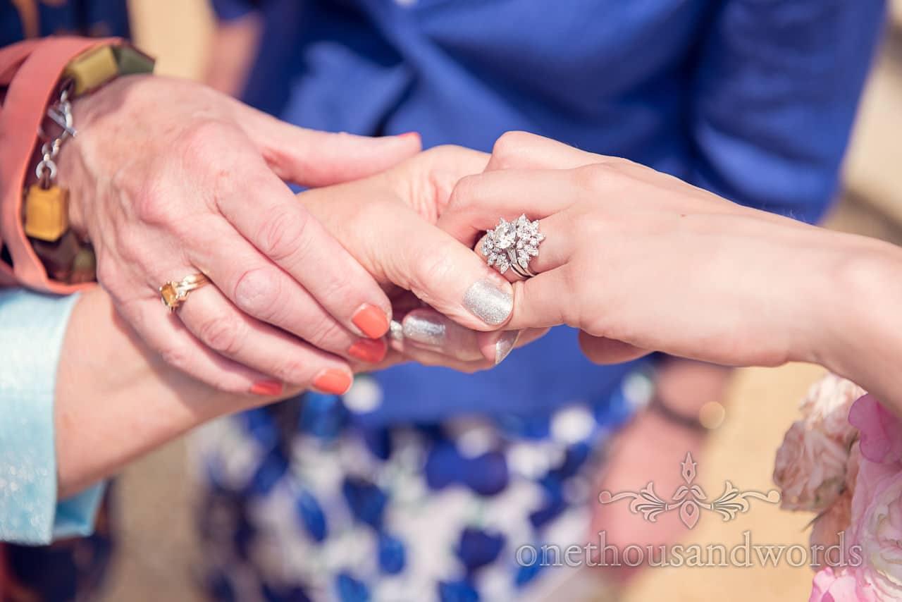 Diamond wedding ring at Highcliffe castle wedding