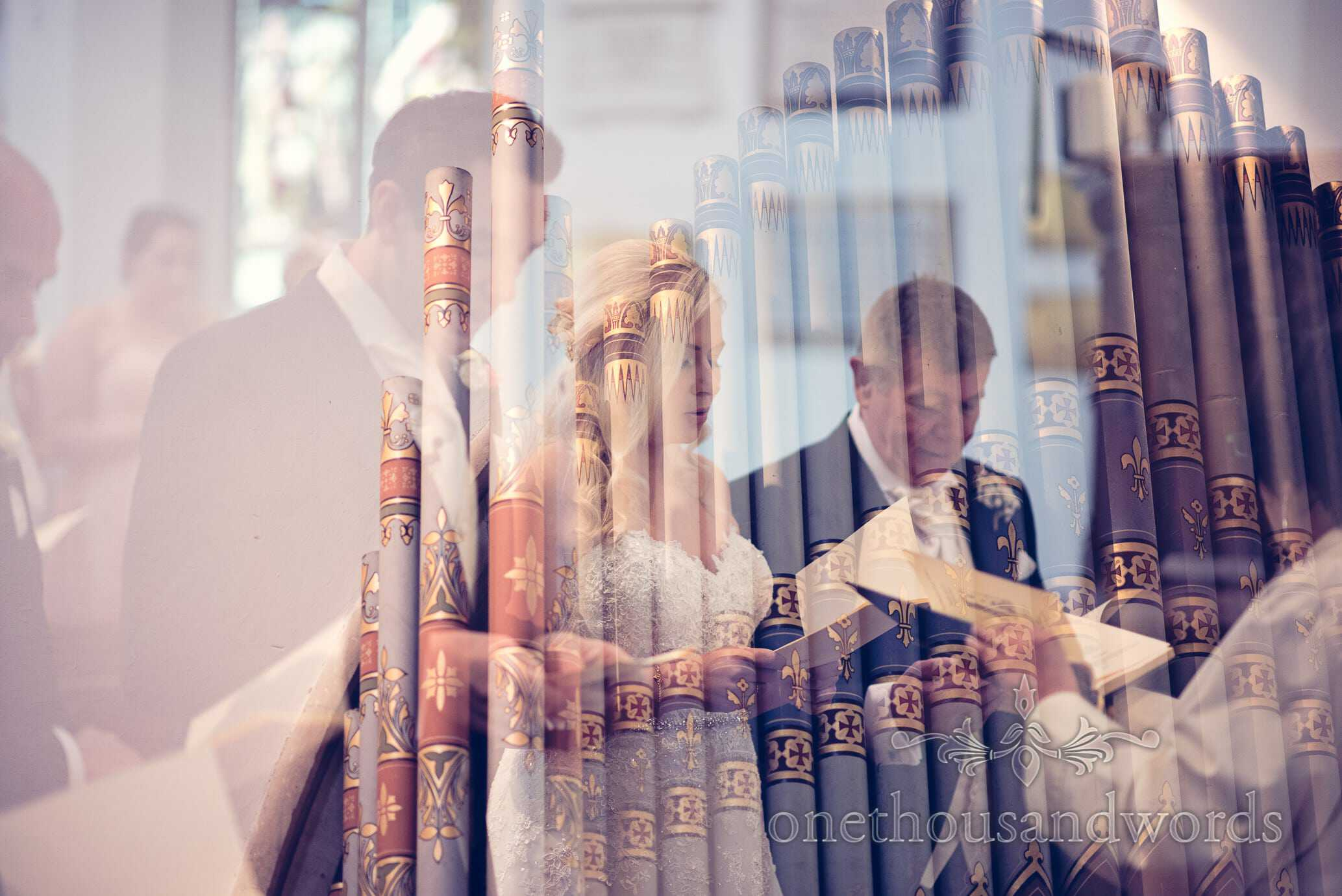 Double exposure photograph of organ pipes and wedding singing