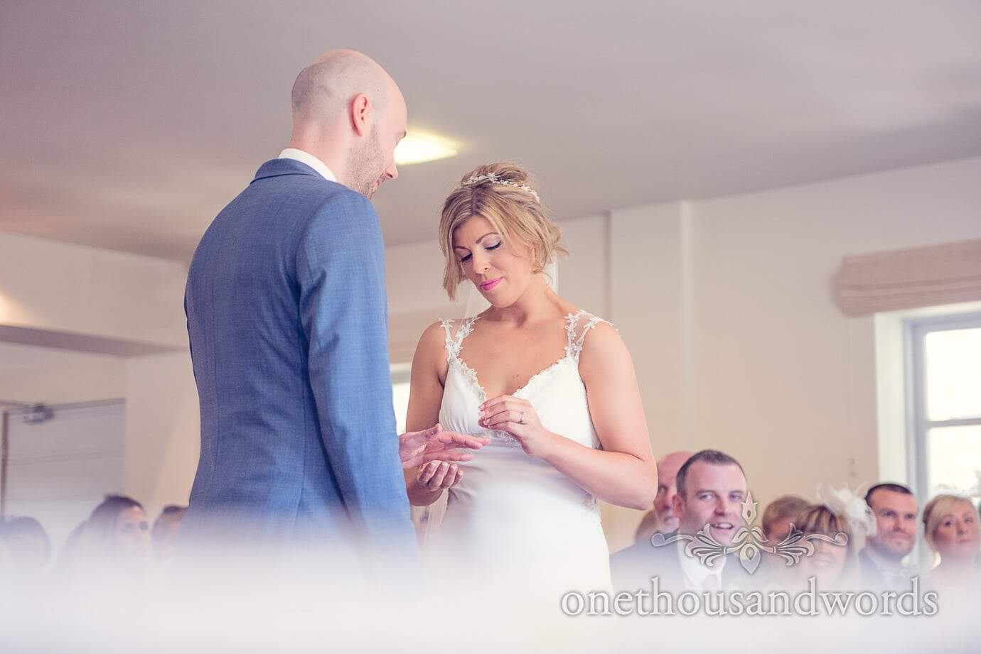 Exchange of rings at Italian Villa Wedding Photographs
