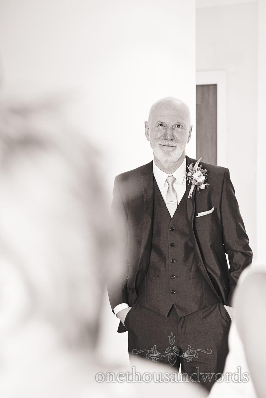 Father of the bride at Italian Villa wedding photographs