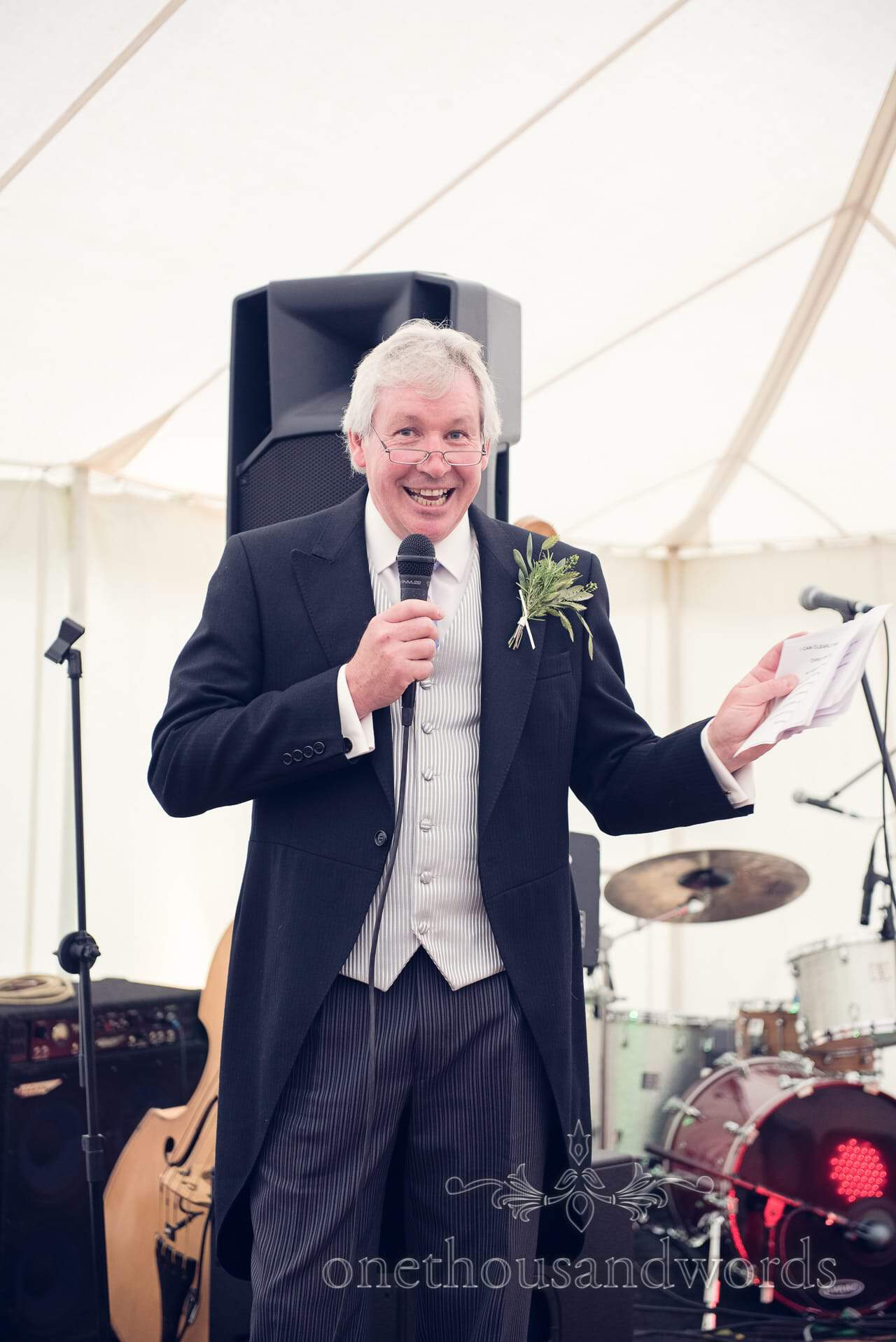 Father of the bride speech in wedding marquee