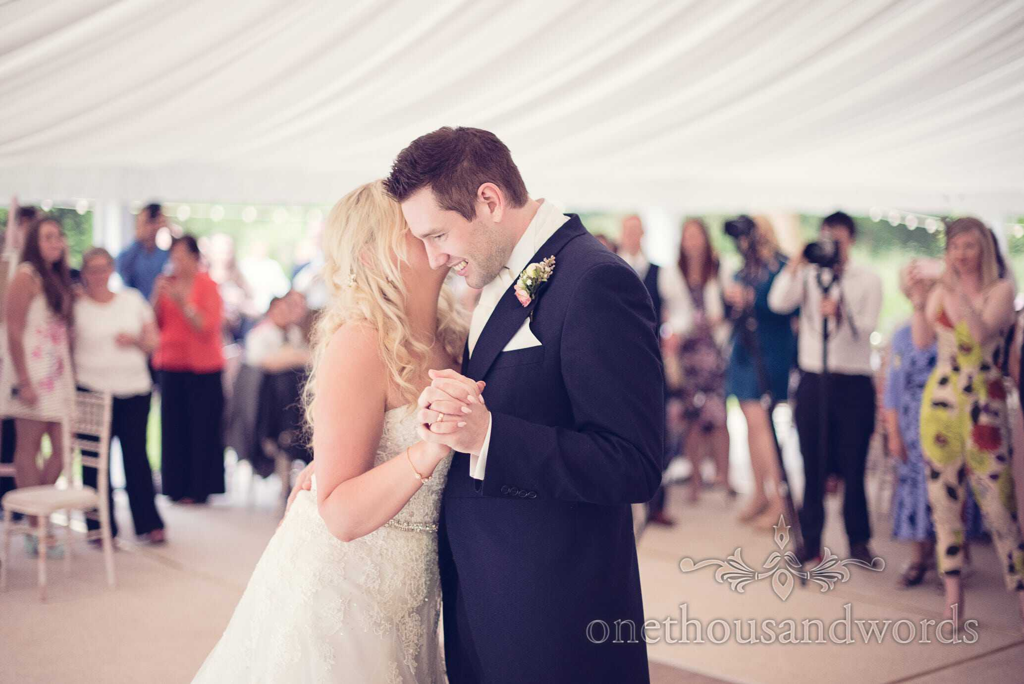 First dance in marquee at Deans Court Wedding