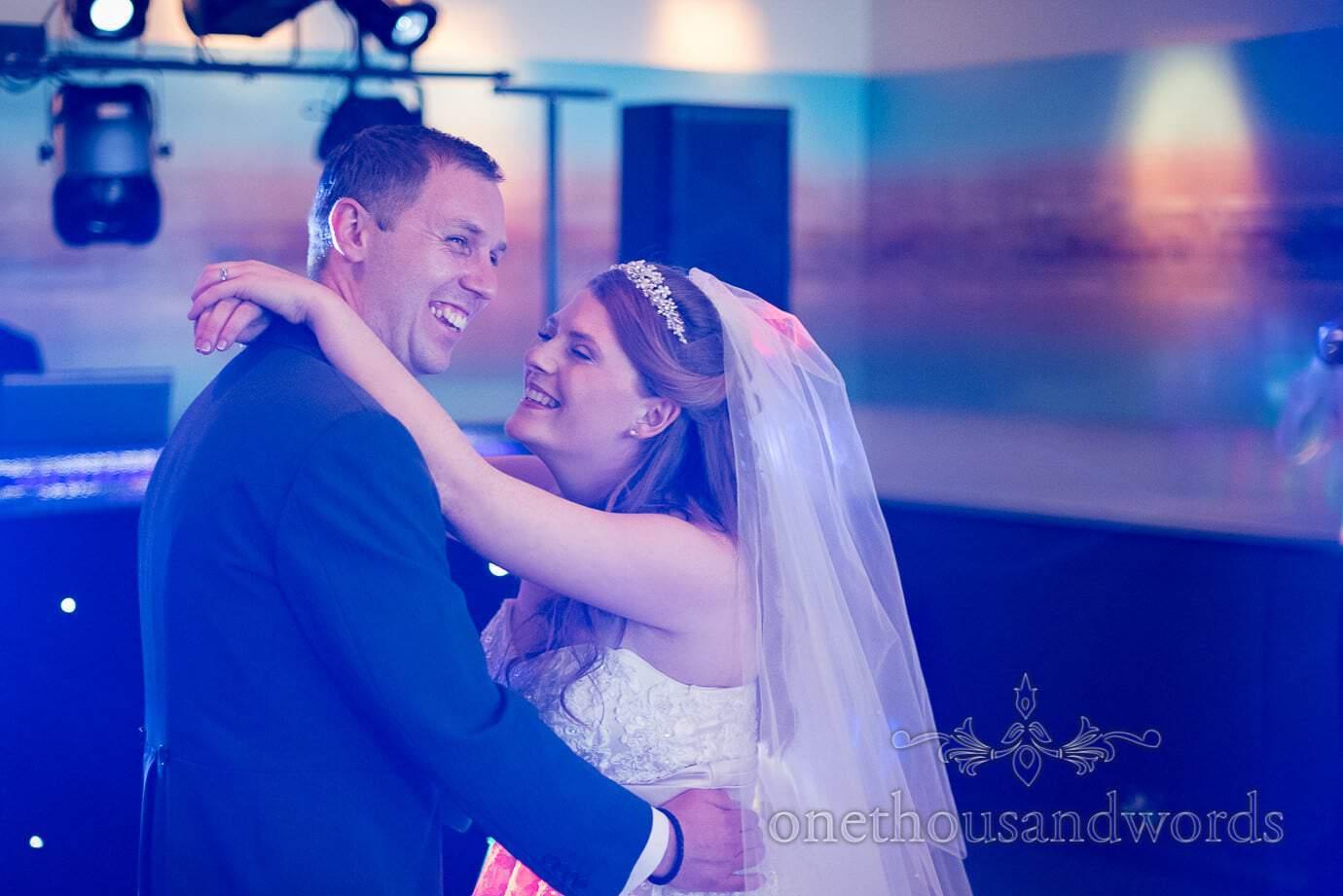 First dance under blue disco lights at Harbour Heights wedding photos