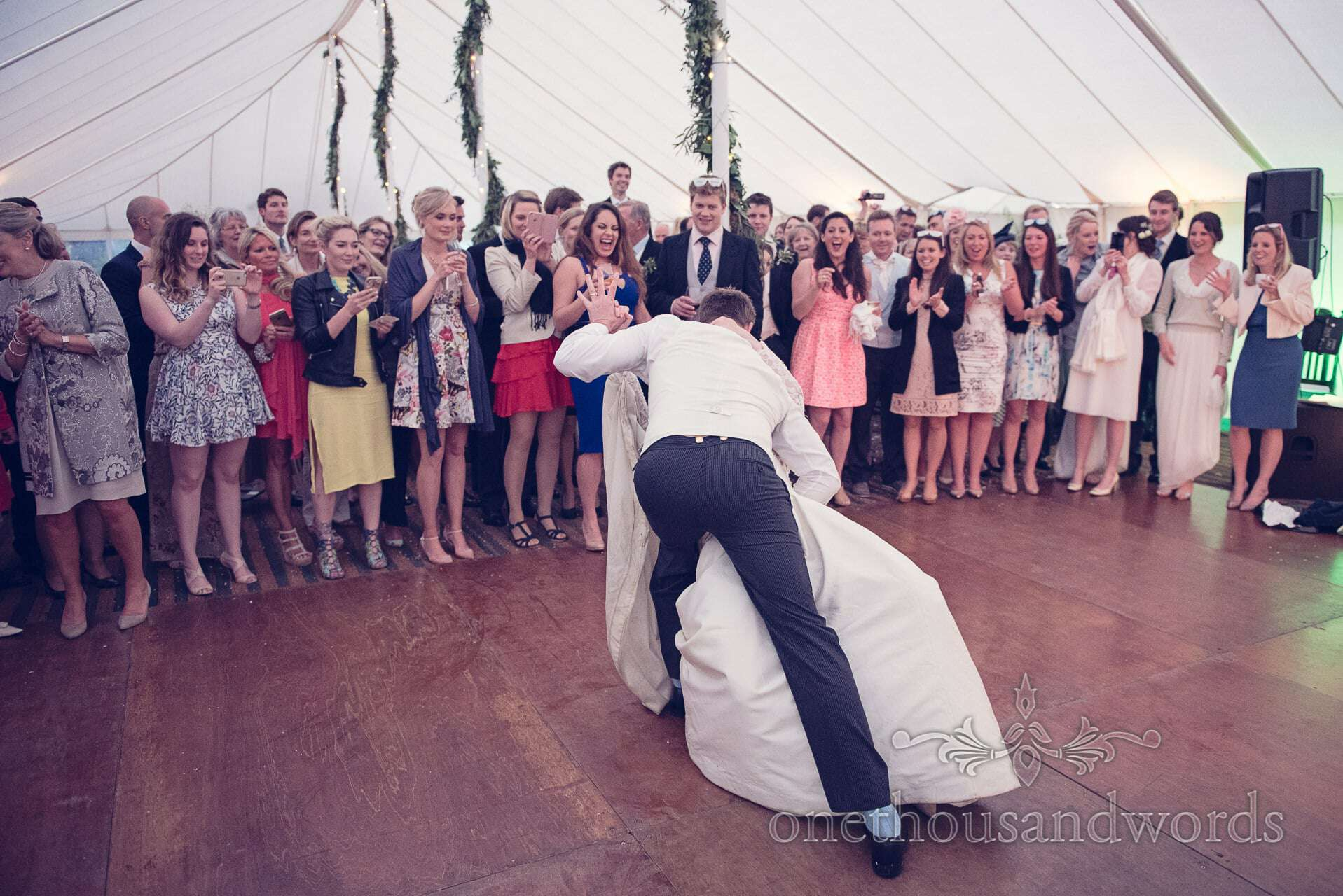 First dance with wedding guests at The Priory Wareham wedding