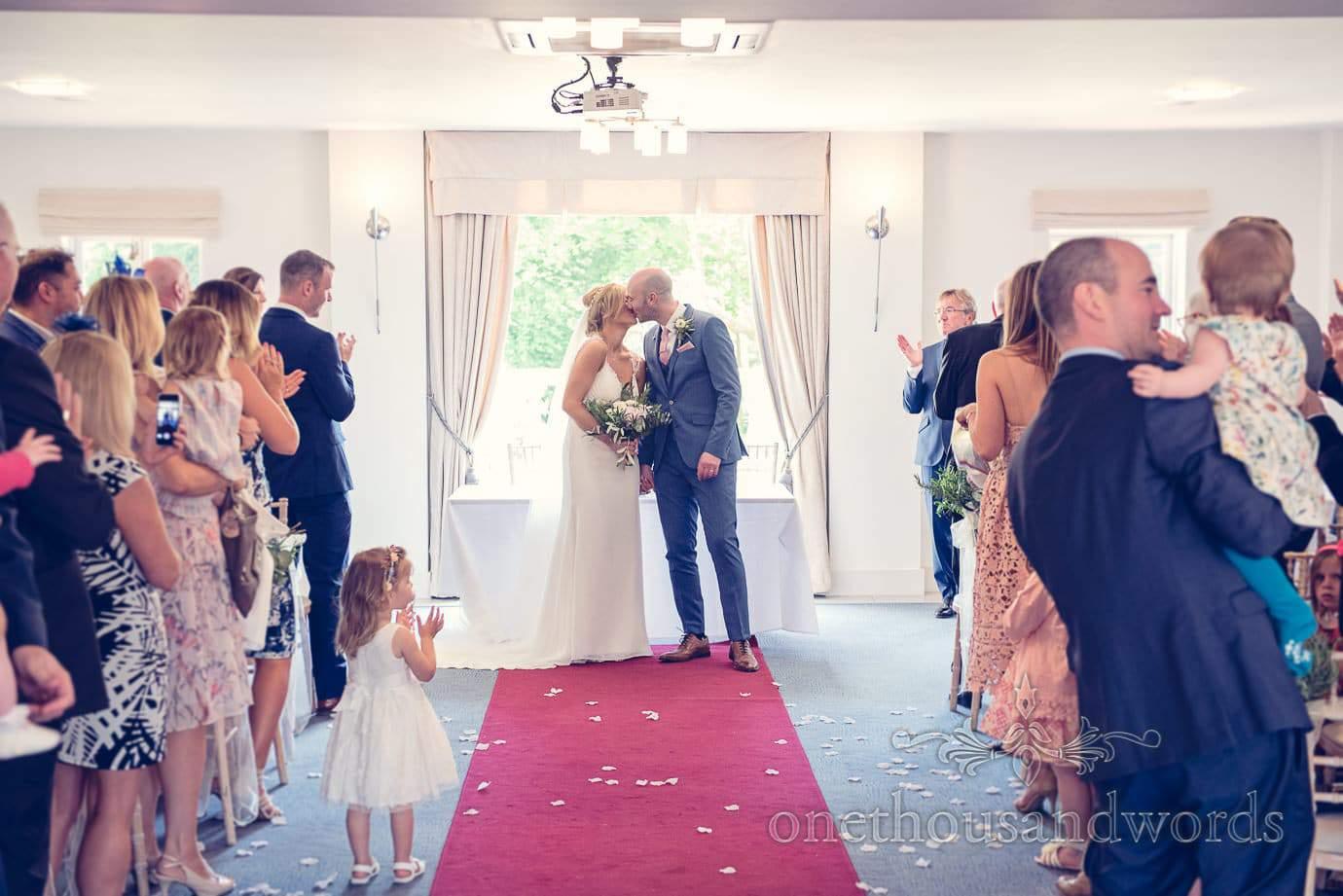 First kiss at Italian Villa Wedding Photographs
