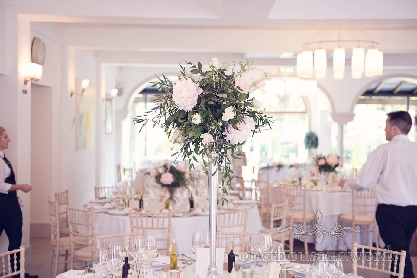 Floral table centerpiece at Italian Villa Wedding Photographs