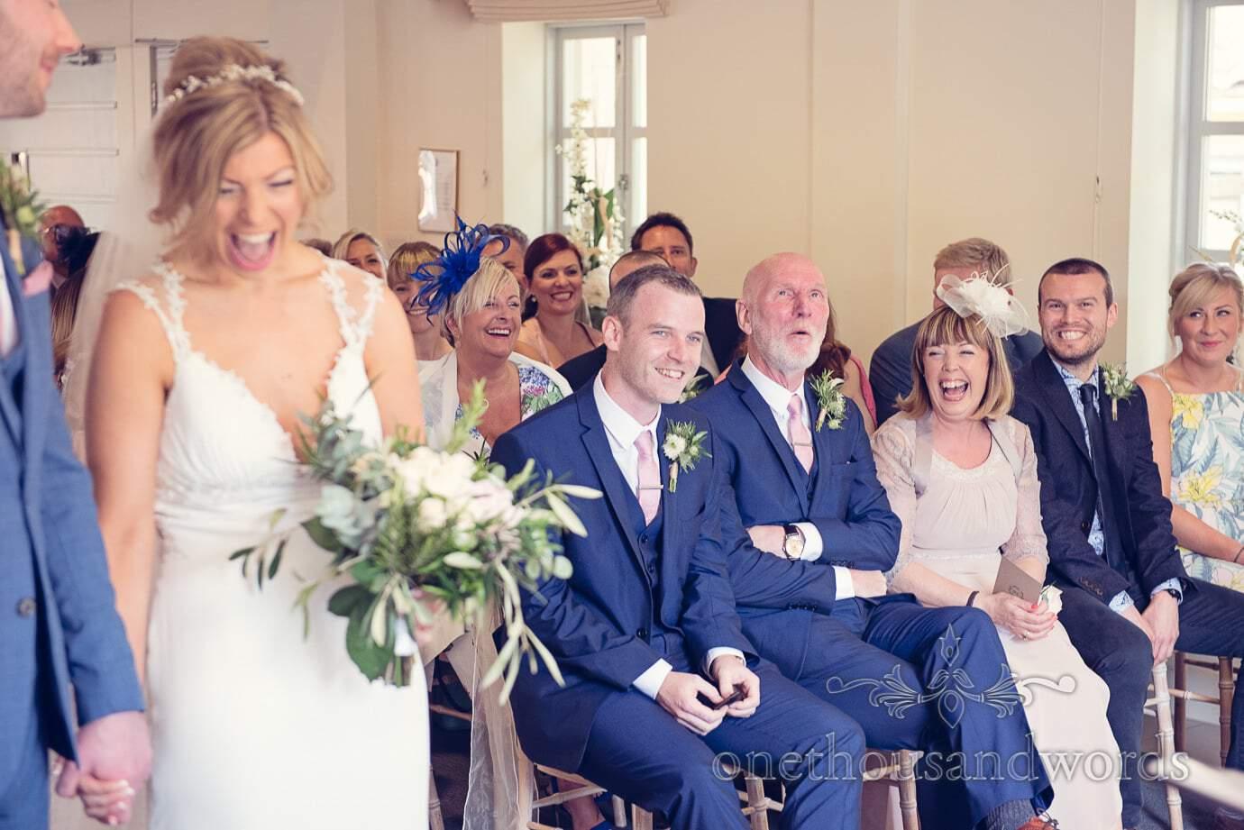 Front row reaction at Italian Villa Wedding Photographs
