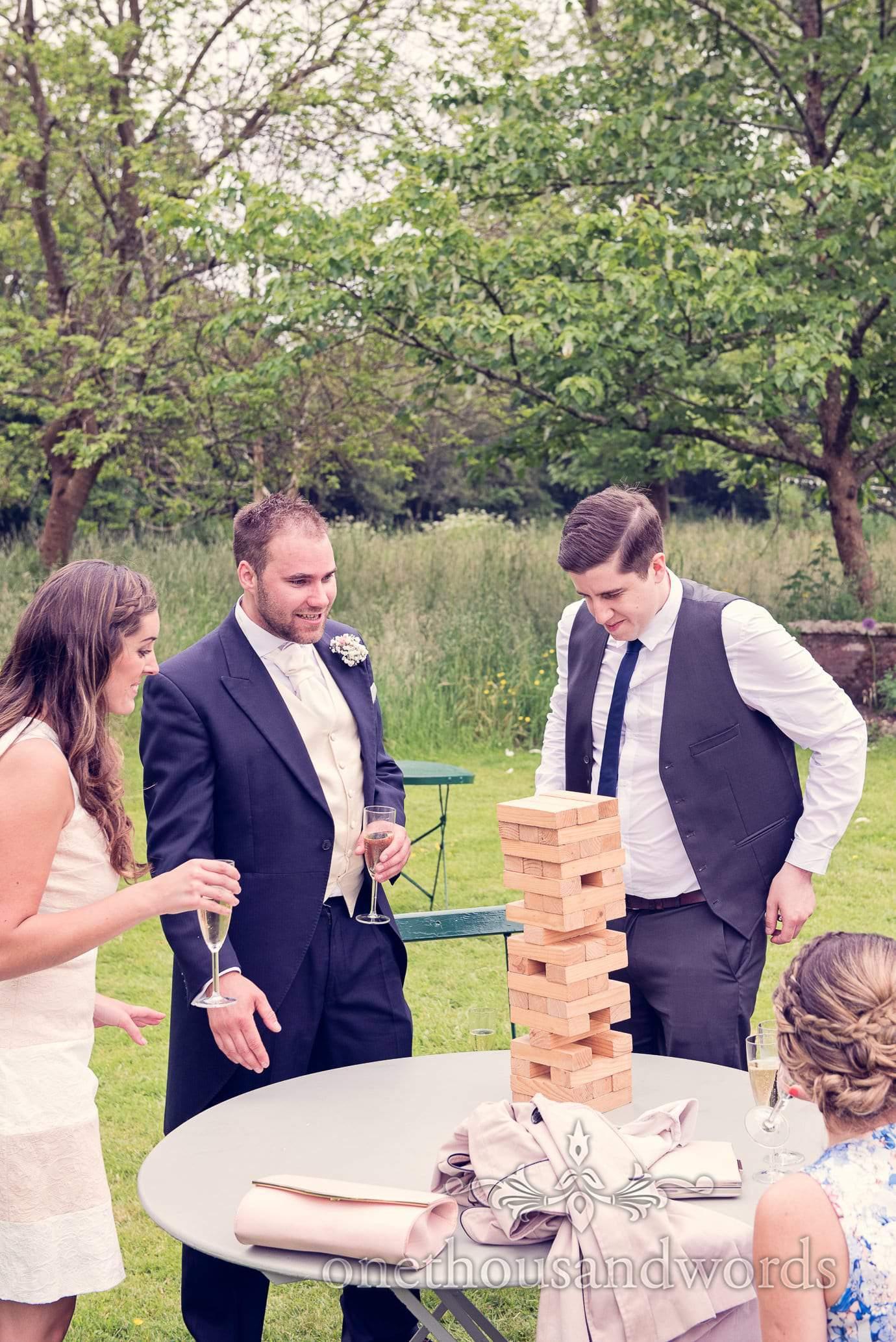 Garden games at Deans Court wedding drinks reception