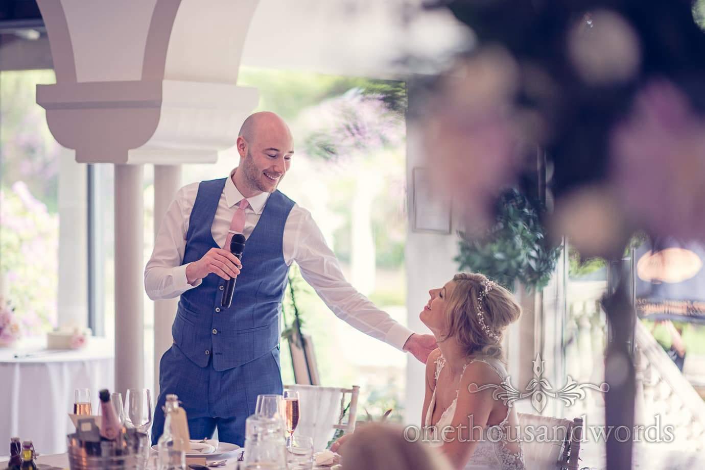 Groom during speech at Italian Villa Wedding Photographs