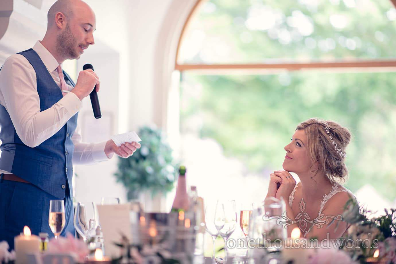 Groom talks about bride during speech at Italian Villa Wedding Photographs