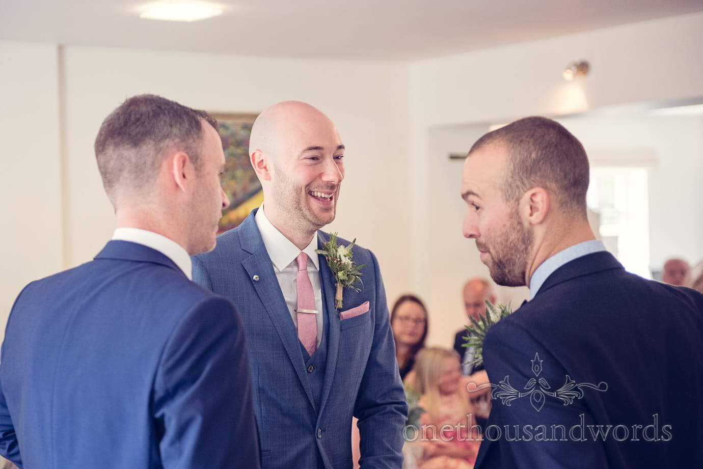 Groom with best man and brides brother at Italian Villa Wedding Photographs