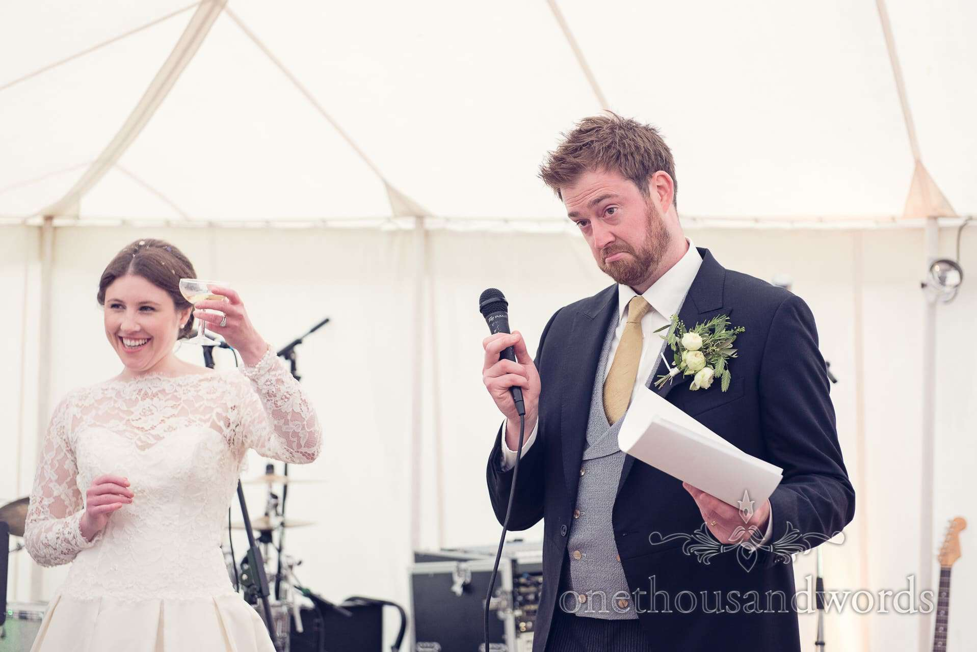 Grooms speech toasted by bride at Marquee wedding