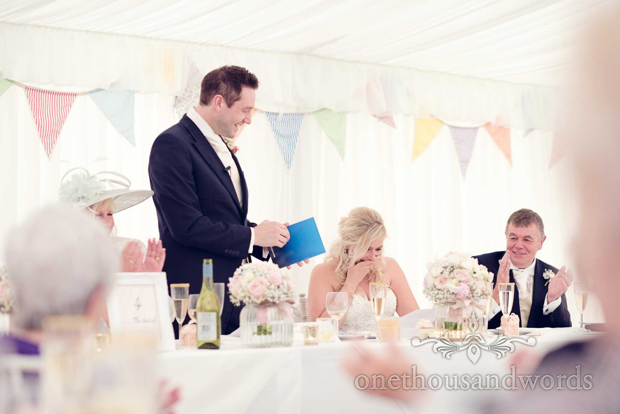 Grooms Speech with bride crying at Deans Court Wedding