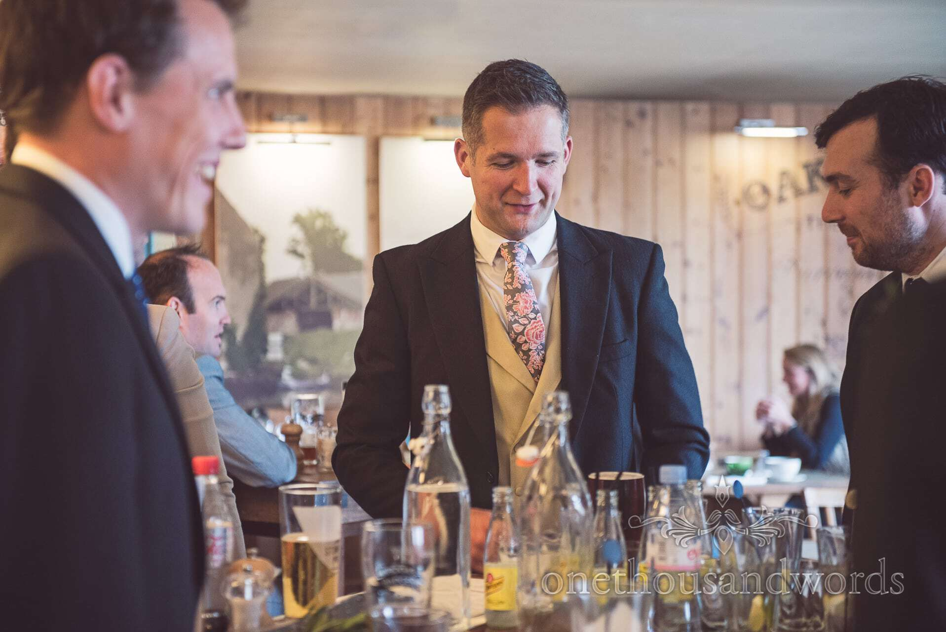 Groomsmen in pub on wedding morning in Wareham, Dorset