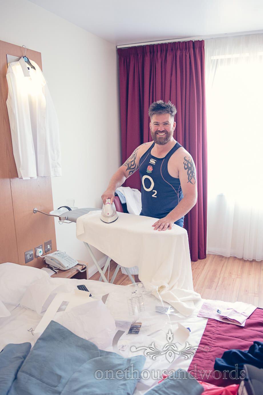 Ironing before Italian Villa Wedding Photographs