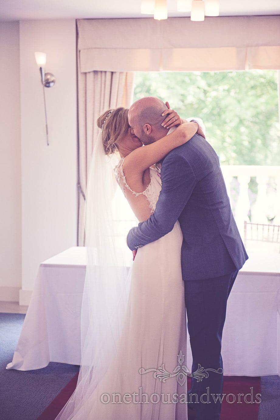 Kiss at Italian Villa Wedding Photographs