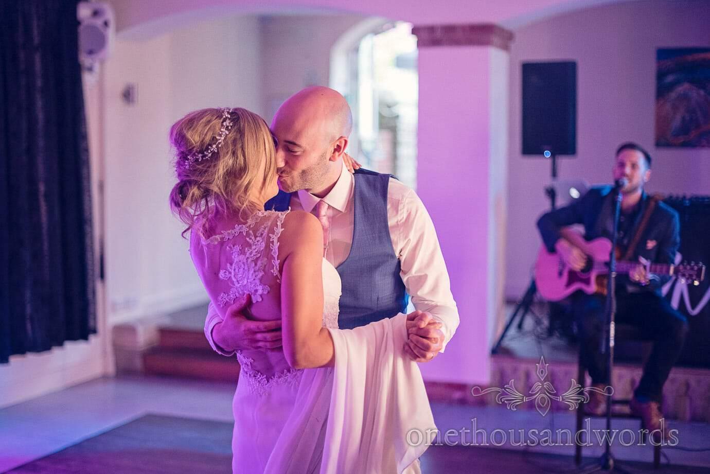 Kiss during first dance from Italian Villa Wedding Photographs