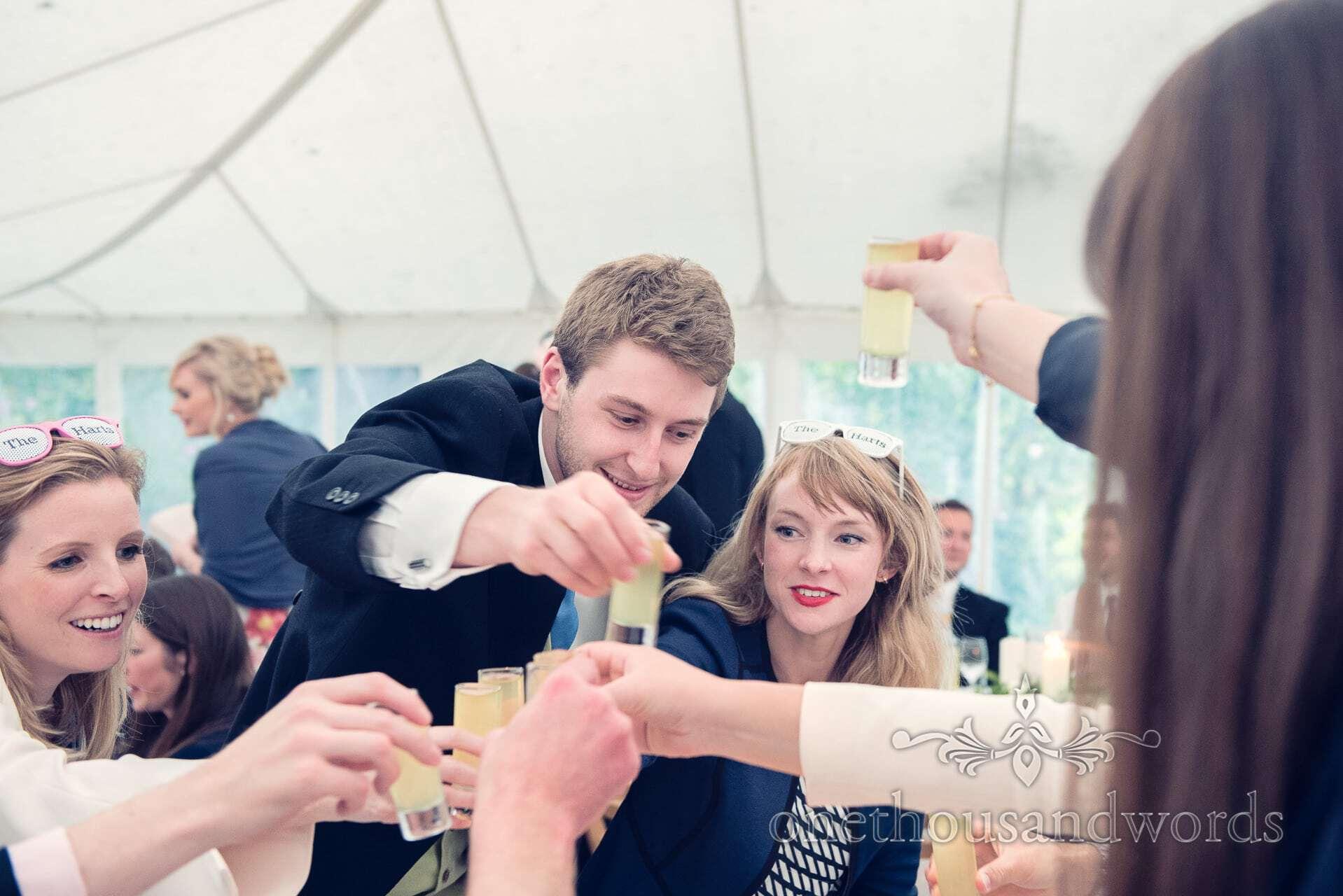 Limoncello Toasts at The Priory Wareham wedding