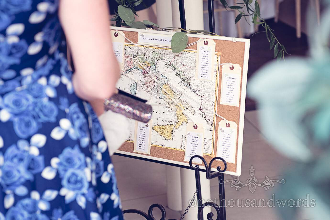 Map of Italy table plan at Italian Villa Wedding Photographs