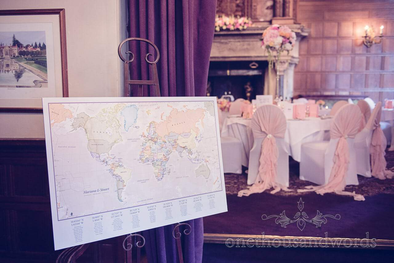 Map of the world table plan at Rhinefield House Wedding