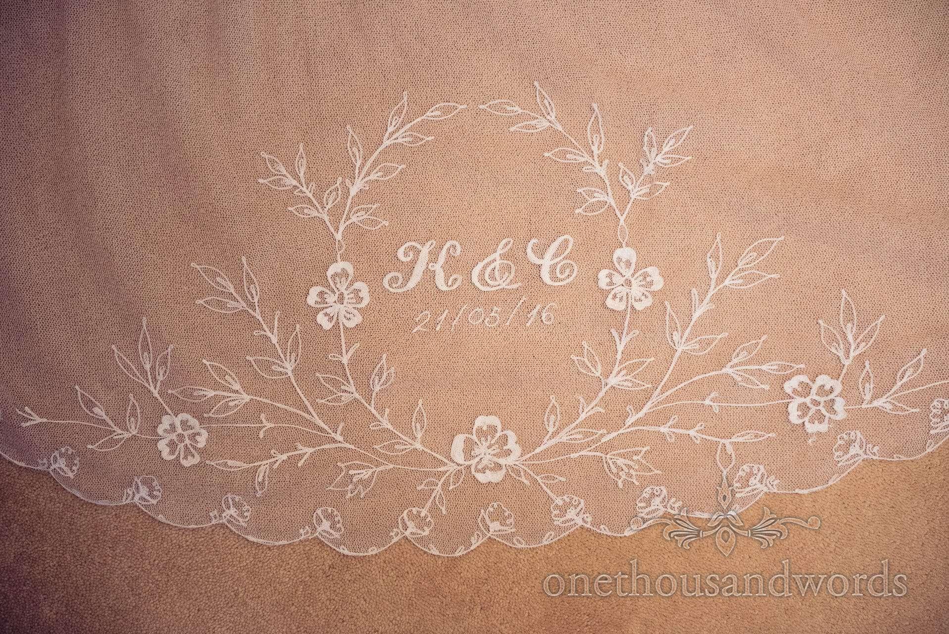 Monogram embroidery on wedding veil