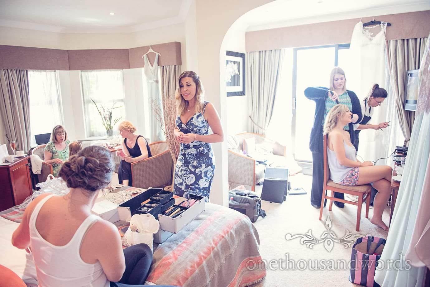 Morning preparation at Italian Villa wedding photographs