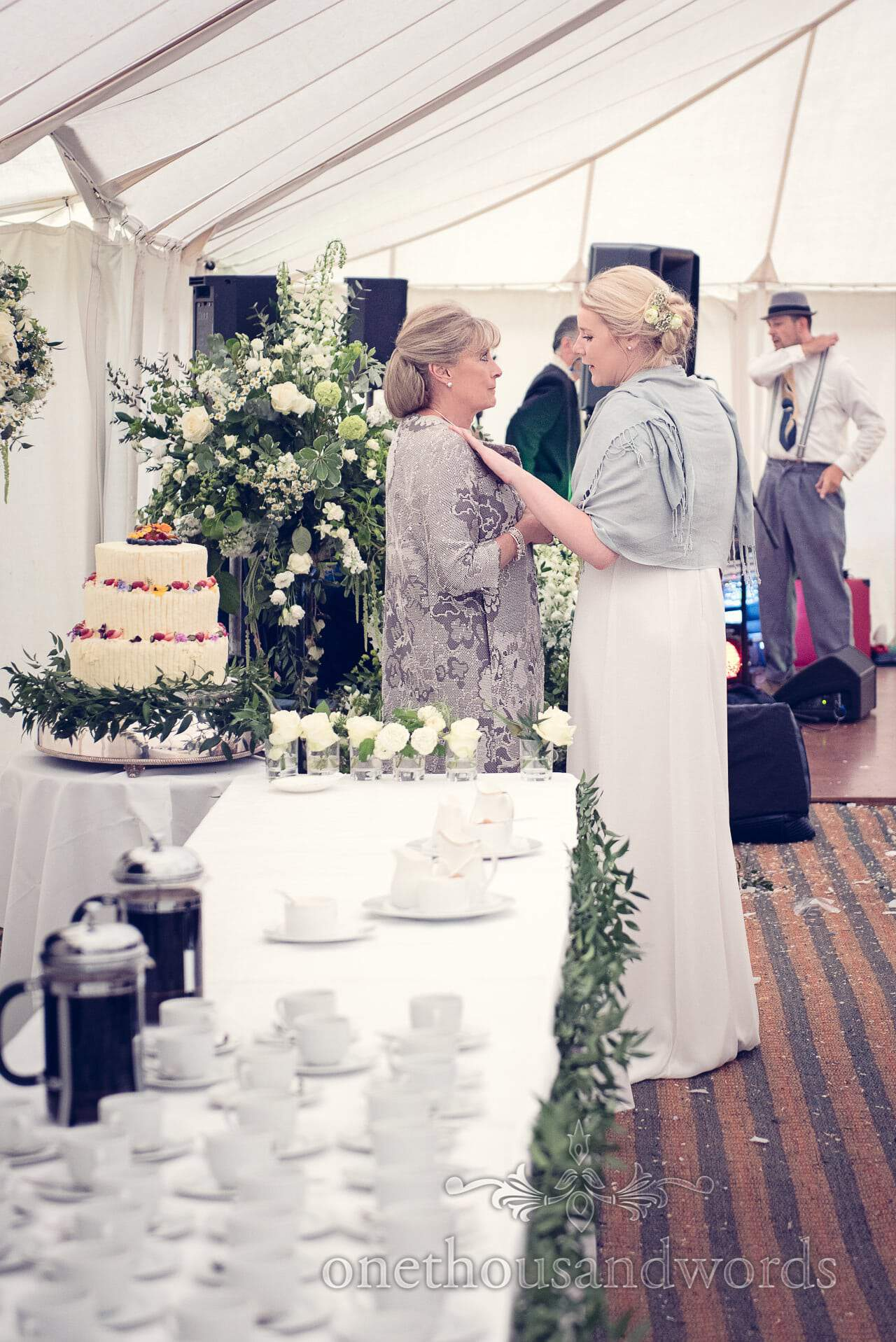 Mother of Bride and Bridesmaid talk at The Priory Wareham wedding