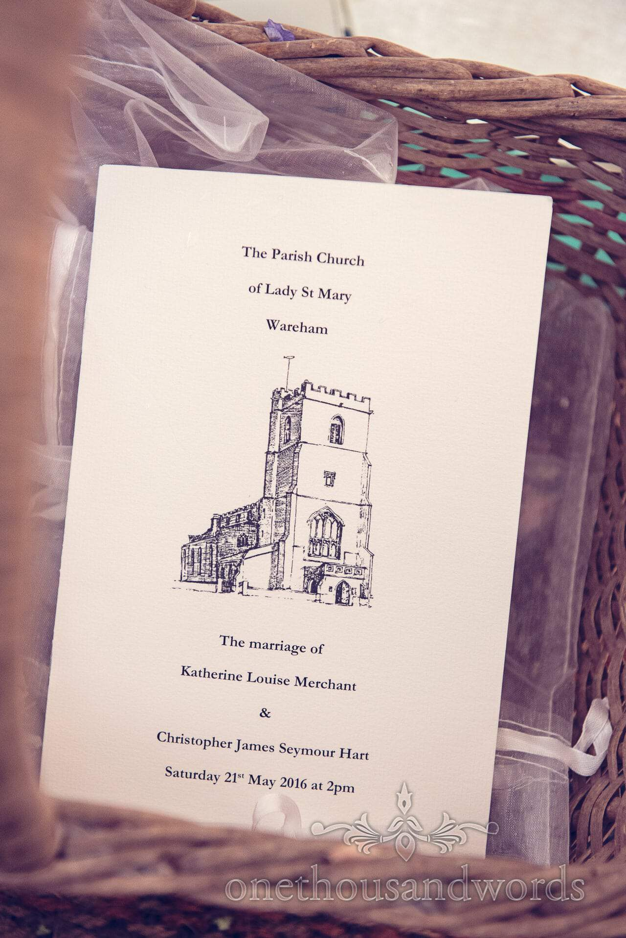 Order of service for Lady St Mary, Wareham wedding