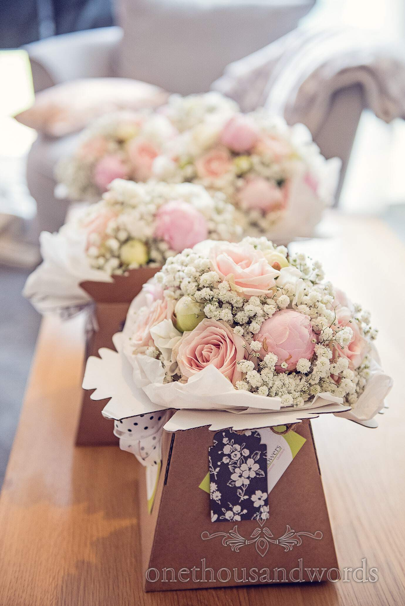 Pink and pastel colour wedding bouquets by Concept Flowers wedding florist