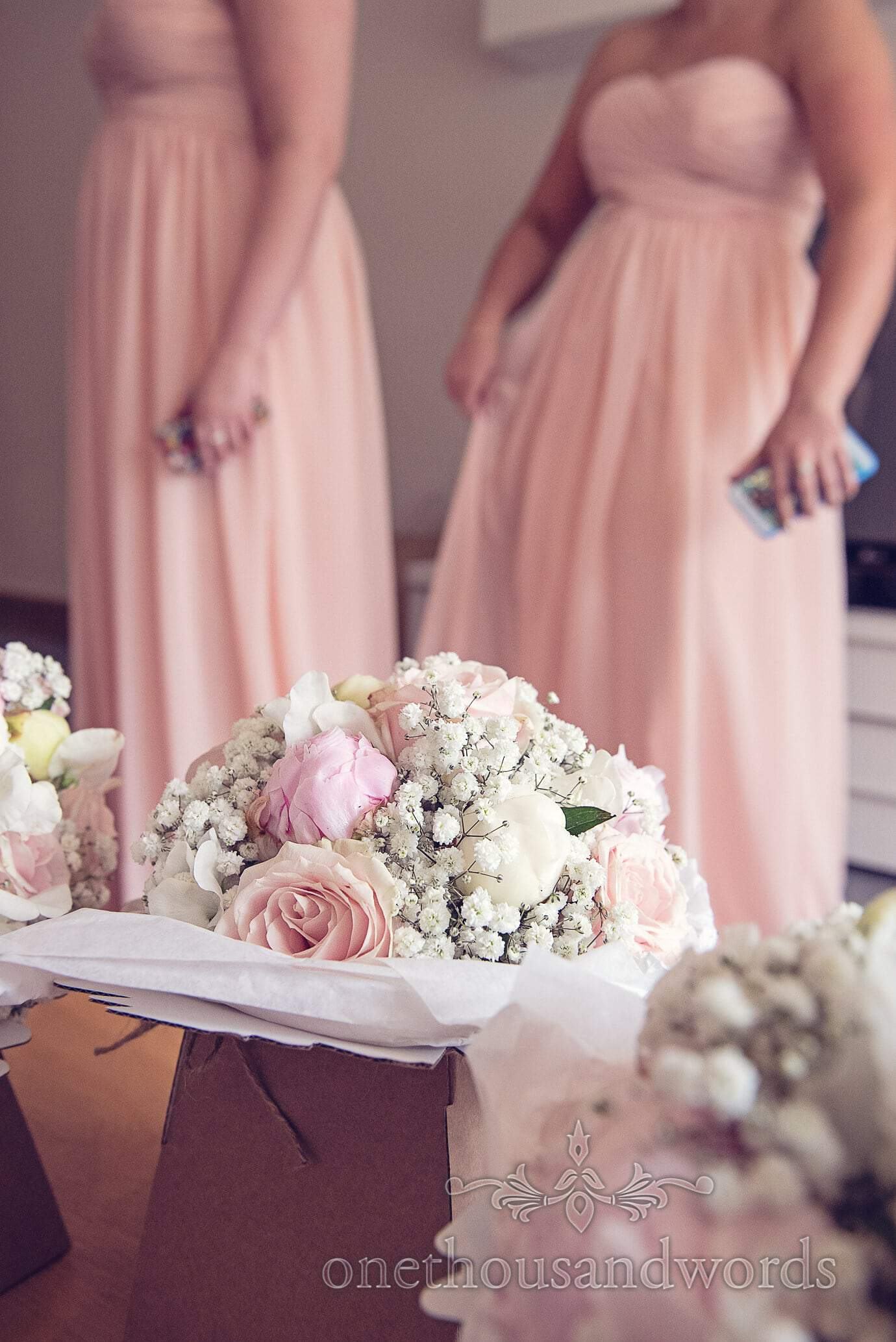 Soft pink pastel wedding flower bouquets by Concept Flowers in Dorset