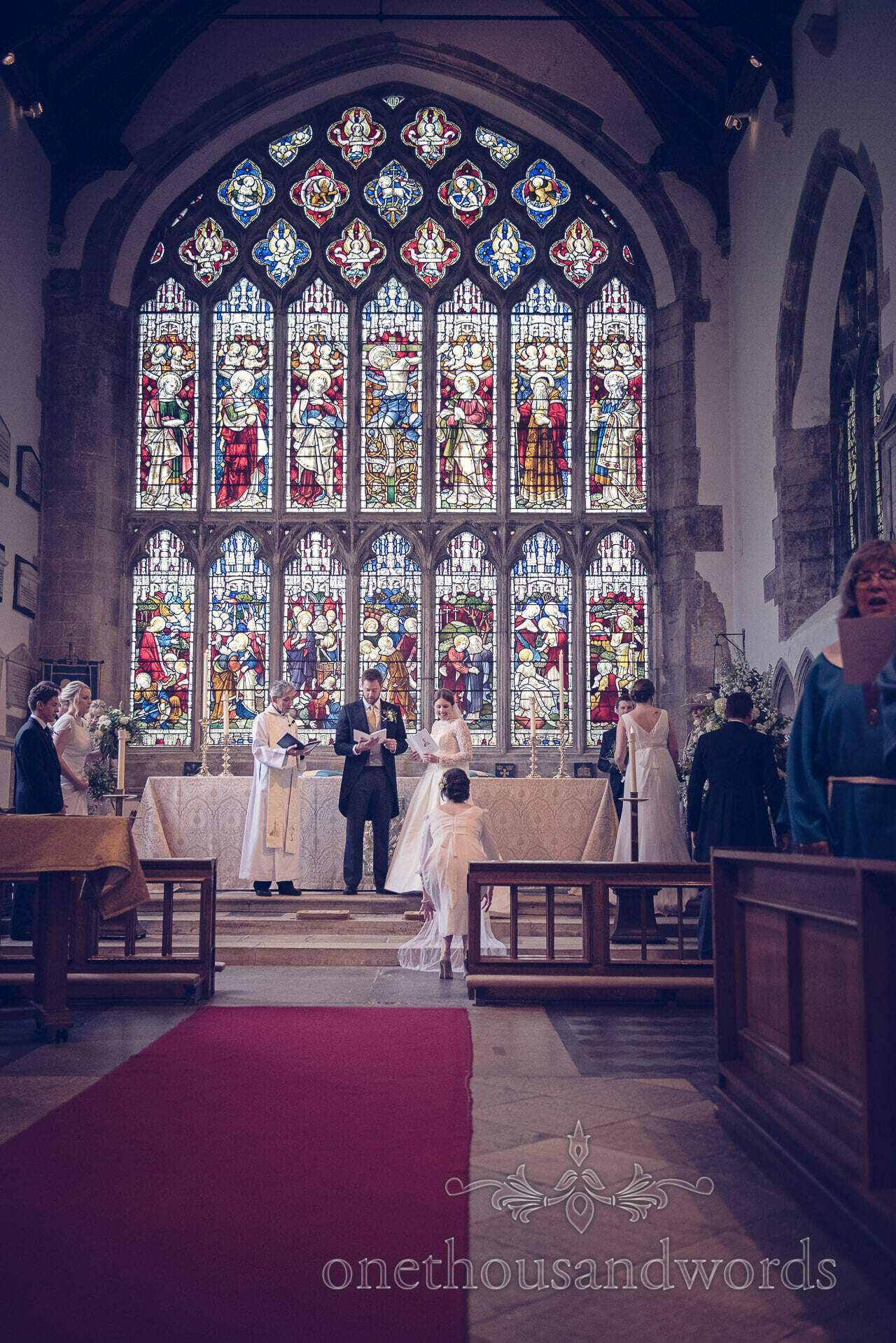 St Mary's Church Stained Glass Window at wedding Ceremony