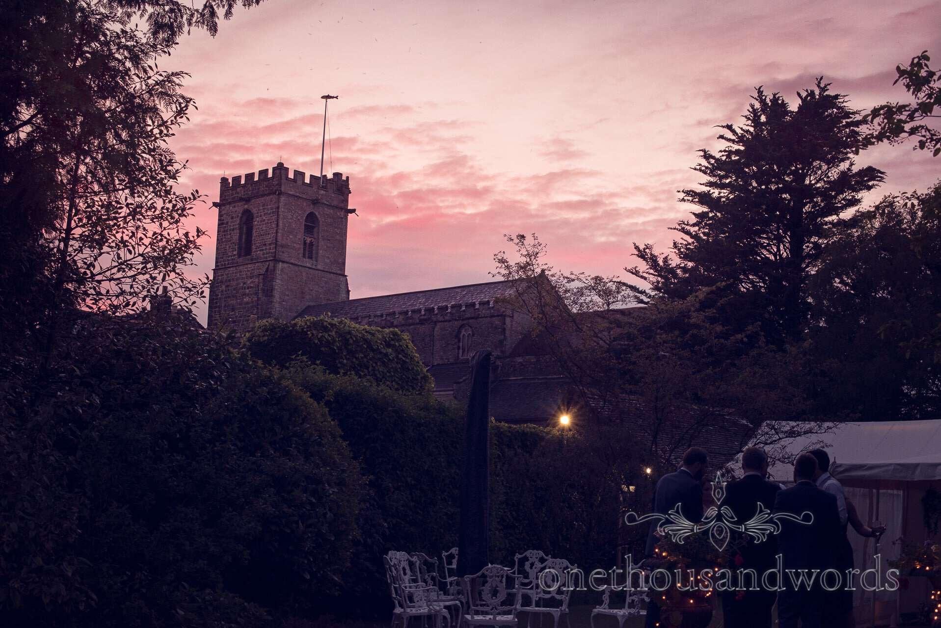 Sunset at The Priory Wareham wedding photographs