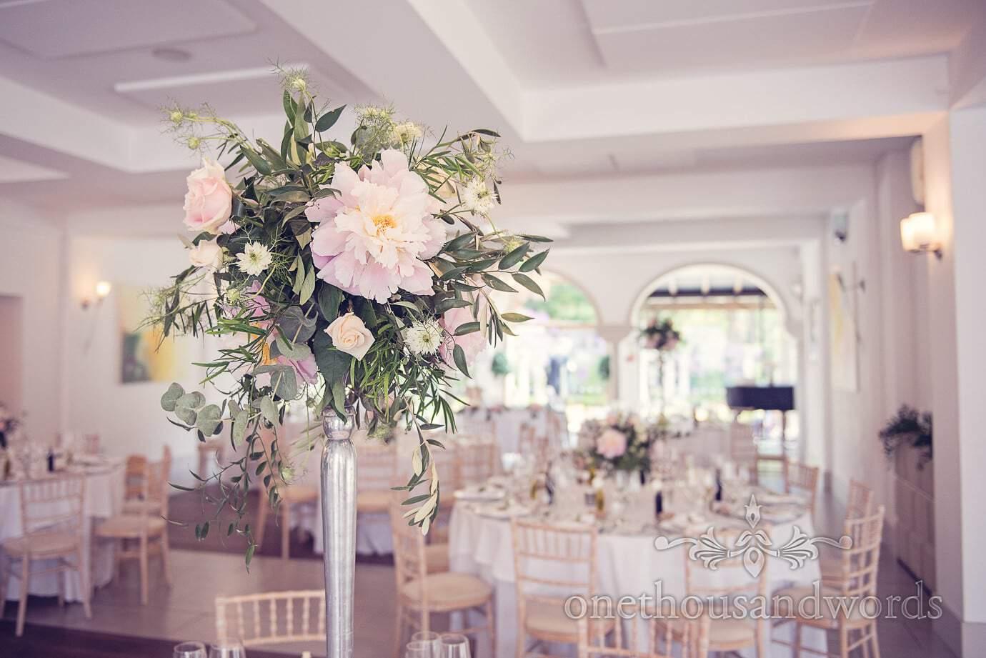 Table decoration at Italian Villa wedding photographs